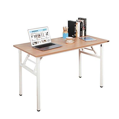 Need Bureau d'Ordinateur Informatique pliante 120x60cm Table d'étude / à dîner pliable pour Maison/ Bureau, Teck Chêne Couleur & Blanc,AC5BW