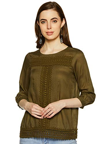 Honey by Pantaloons Women's Plain Regular fit Top (110051596_Olive_XL)