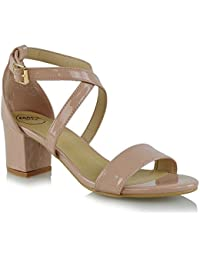 e441ad86f98ad2 Womens Strappy Sandals Block Mid Low Heel Ladies Ankle Strap Party Evening Shoes  Size 3-