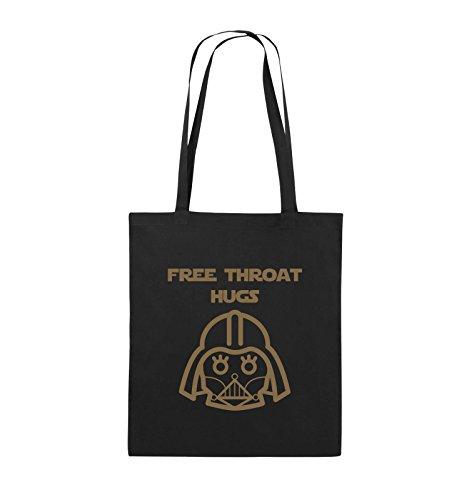 Comedy Bags - FREE THROAT HUGS - Jutebeutel - lange Henkel - 38x42cm - Farbe: Schwarz / Pink Schwarz / Hellbraun