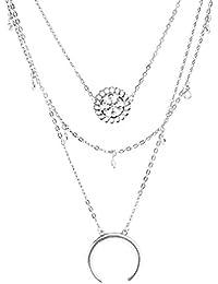Yazilind Mujeres 2016 Idea collar de plata larga de varias capas con los collares pendientes Juego de regalo de joyería