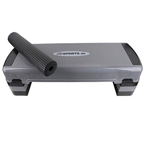 ScSPORTS Stepper/Stepbench Aerobic-Fitness-Steppbrett, schwarz grau, 3-Fach höhenverstellbar, 90 x 32 x 15/20/25 cm, inkl. Unterlegmatte