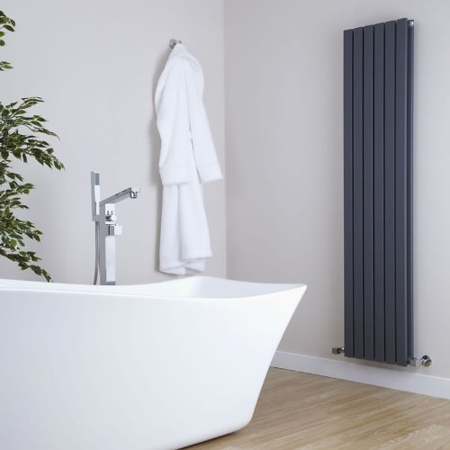 41CGggyhN L. SS500  - Milano Capri - Modern Black Vertical Column Double Panel Designer Radiator – 1600mm x 354mm