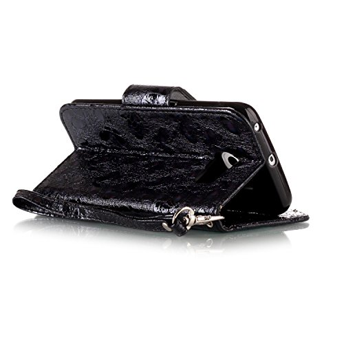 Galaxy S6 Edge Custodia, Custodia Samsung Galaxy S6 Edge G925, Samsung Galaxy S6 Edge Custodia Portafoglio Pelle, JAWSEU [Shock-Absorption] Lusso 3D Goffratura Fiore Farfalla Wallet Leather Flip Cover Farfalla, Nero