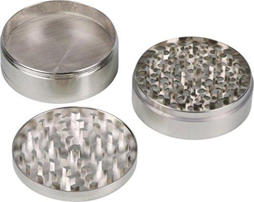 Grinder Metall Chrom 4teilig / Ø 75 mm / Höhe 45 mm / Sieb / Spachtel