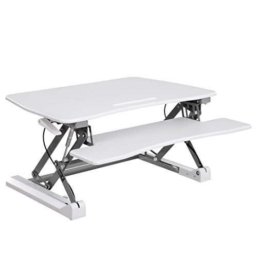 SONGMICS Sitz-Steh-Schreibtisch höhenverstellbarer Aufsatz Steharbeitsplatz Monitorständer mit...