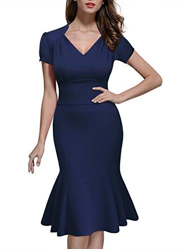 Miusol Damen Sommerkleid V-Ausschnitt Kurzarm 1950er Retro Fishtail?Buero Cocktail Kleid Blau EU 44/XL - 3