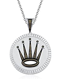 "Silvernshine 1.2 Ct Round Cut Citrine Crown Locket Pendant 18"" Chain In 14K White Gold Fn"