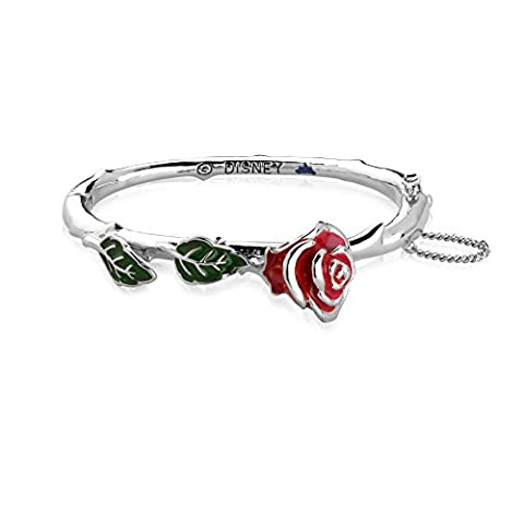 Disney Couture Plaqué or blanc Beauty and the Beast Enchanted Rose rouge Bracelet