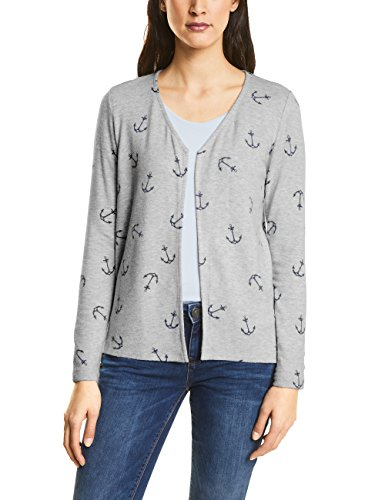Street One Damen 311850 Strickjacke, Grau (Cyber Grey Melange 20767), 42