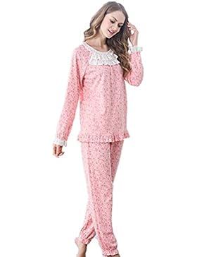 DMMSS Cotone pigiama lungo donna - a maniche pizzo Leisure pigiama Set , xl