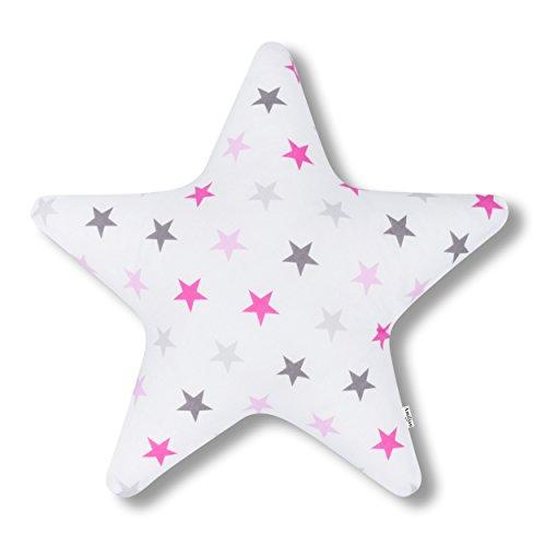 Amilian Kissen Stern Sternchen GROß rosa Dekokissen Kuschlig Flauschig ca. 60 cm