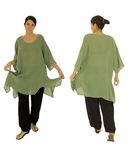 Mein Design Lagenlook de Mallorca Damen Bluse HO100 Tunika Leinen one size asymmetrisch Plus Size einfarbig Gr. 40, 42, 44, 46, 48, 50, 52, 54,56 Grün