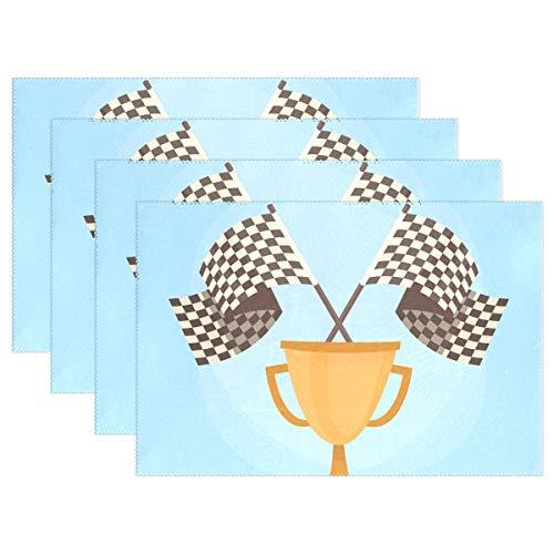 LINDATOP Platzdeckchen mit Karierten Flaggen, 30,5 x 45,7 cm, Polyester, hitzebeständig, Rutschfest, 1 Stück, Mehrfarbig, 12x18 inch