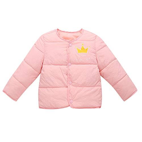 Kobay Kinder Baby Mädchen Jungen Winter Crown Brief Gedruckt Karikatur Winter Unten Baumwolle Liner Mantel Jacke Warme Oberbekleidung(2-3T,Rosa) - 2 Jacke Liner