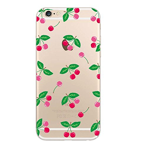 "CoqueiPhone 7 Etui Housse,BoomTeck Coque Pour 4.7"" Apple iPhone 7 Silicone Souple Transparente Motif Clear Ultra Mince Anti Choc Anti-rayures Gel TPU Etui Protection Bumper Case Fruit Mignon Cerise 01"