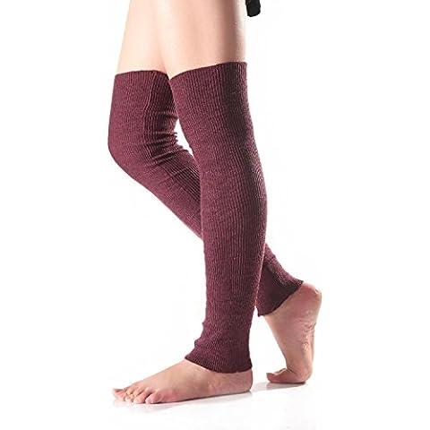 ZARU 1 par Mujeres que hacen punto calentadores de la pierna Keep Warm calcetines de arranque de la cubierta calcetines de ajuste♥WM-2
