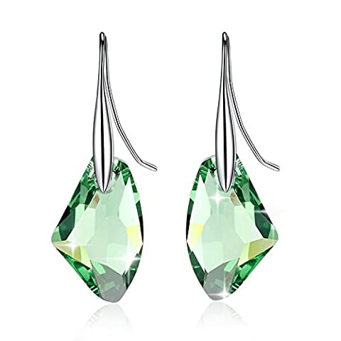 URBAN SHe° Geometric Rock Crystal Silver Drop Dangling Earrings - Made with Swarovski Elements Mutiple Colour (Priot Green)