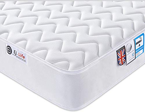 5FT UK King 3D Breathable Fabric Mattress with Pocket Springs and Memory Foam - 9-Zone Orthopaedic Mattress - 8.7-Inch - White