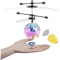 JAMSWALL Bola voladora RC, RC Flying Juguetes, Niños Música Flying Ball, Drone HelicóPtero Bola de Vuelo Built-in Shinning Iluminación LED para Niños,RC Juguete para niños Adolescentes