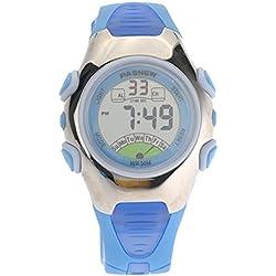 PIXNOR PASNEW PSE-219 Waterproof Children Boys Girls LED Digital Sports Watch with Date Alarm Stopwatch (Blue)