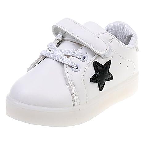 Gazechimp Kinder Blink Schuhe LED Turnschuhe Leuchtende Farbwechsel Sneaker Shoes Freizeit Sportschuhe - Weiß, 24