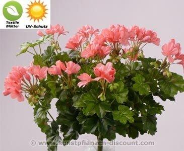 Geranien Kunstblume, mit UV Schutz auf den Blättern, 116 rosa Blüten, Höhe ca. 40cm - Kunsblumen künstliche Blumen Kunstpflanzen künstliche Pflanzen Blumen
