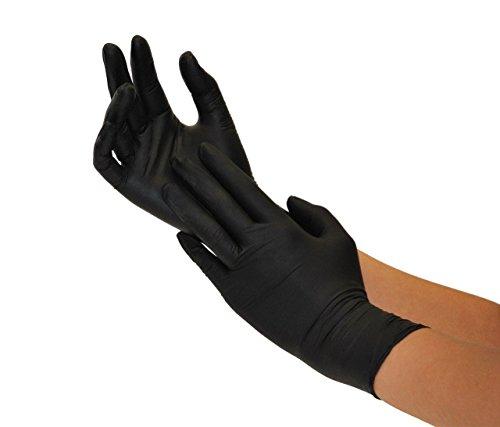 Nitrilhandschuhe 100 Stück Box (L, Schwarz) Einweghandschuhe, Einmalhandschuhe, Untersuchungshandschuhe, Nitril Handschuhe, puderfrei, ohne Latex, unsteril, latexfrei, disposible gloves, black, Large