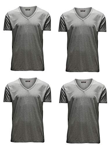 JACK & JONES Herren T-Shirt Basic 4er PACK O-Neck V-Neck Tee S M L XL XXL (XXL, 4er V-NECK grau) A/v-jack