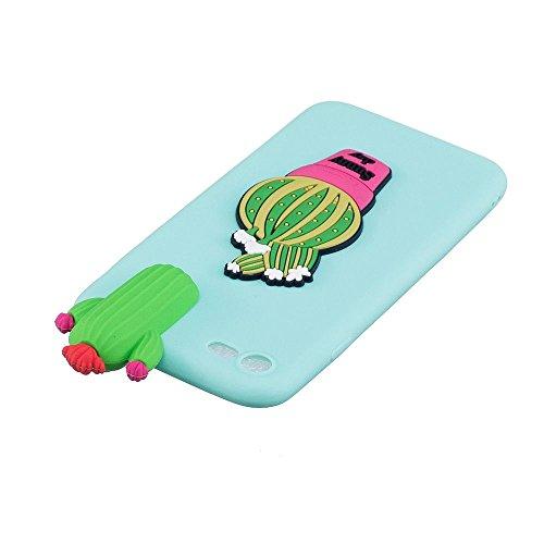 Cover iPhone 7 Custodia Bello 3D Tridimensionale Cartoon Carina Animale Sollievo Proiezioni Modello Ultra Magro Sottile Silicone TPU Case Gomma Flexible Caso Colore Puro Fresco Caramella Tocco Morbido Verde