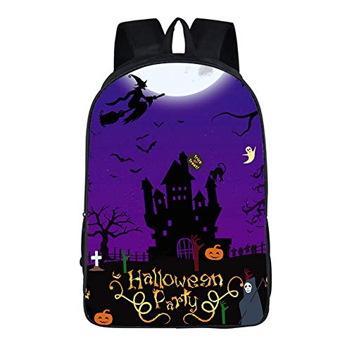Schultertasche Halloween Kürbis Vogelscheuche Thema Kreative Rucksack 16 Zoll Purple Castle (Halloween Sachen Für Kreative)