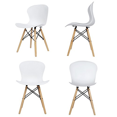Panana 4x Wooden Eiffel Chair Plastic Ribbed Retro Chair Lounge Dining Room Set Chairs (White)