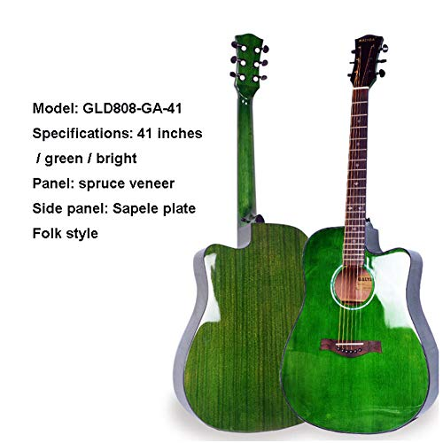 41 Zoll Dreadnought Gitarre Akustik Gitarre Starter Full Size Elektroakustische Gitarre Mit Cutaway Junior Akustikgitarre Musikinstrumente,Grün