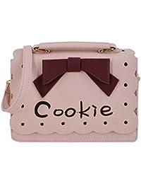 Felice Women Faux Leather Crossbody Messenger Bag Work Office Handbag With Bowknot (Pink)