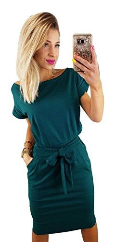 Longwu Damen Elegantes Kurzärmeliges Kleid für Freizeit und Arbeit mit Gürtel Dunkelgrün-M