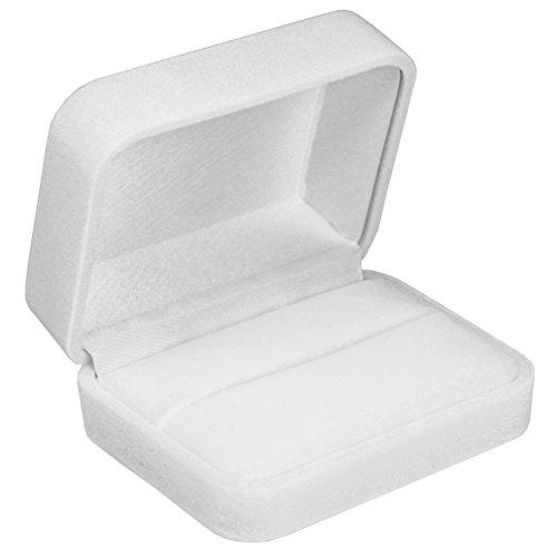 EYS JEWELRY® étui à bijoux pour bagues de mariage alliance 70 x 60 x 30 mm velours blanc boîte à bague écrin emballage cadeau