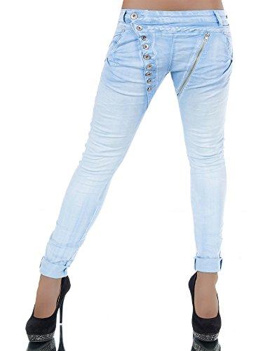 L368 Damen Jeans Hose Boyfriend Damenjeans Harem Baggy Chino Haremshose, Größen:40 (L), Farben:Hellblau