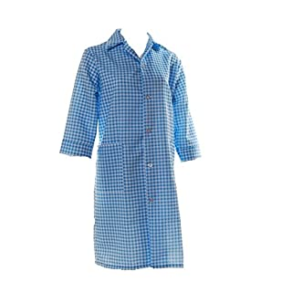 Ladies Gingham Check Work Overalls with ¾ Length Sleeves Light Blue OS