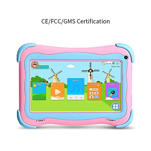 YUNTAB 7 inch Kids Tablet PC Q91 Playing & Learnign Android 8.1 A50 1.5GHZ Quad core WiFi dual Camera 3D Game with Tablet case (pink)