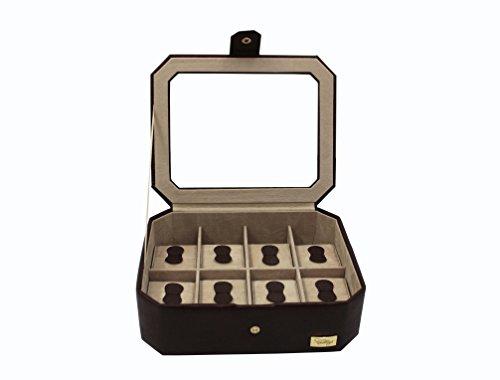 Cordays-Estuche-Relojero-para-8-Relojes-con-Vitrina-de-Cristal-en-Calidad-Premium–Joyero-Relojero-para-accesorios-y-joyas-Hecho-a-Mano