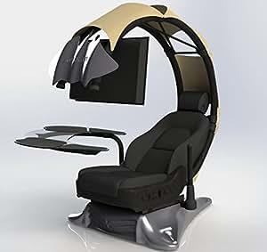 Drian Workstation Game-Sitze IT und Furniture Converged Gaming-Sitze für Büro, zu Hause und zum Gaming (Reinweiß) für Single Monitor und linkstürige Richtung Organic Beige