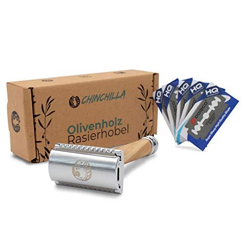 Chinchilla® Olivenholz-Rasierhobel - Inkl. 5 Rasierklingen & 2-seitigem Klingenkopf - Plastikfreier & Umweltfreundlicher Damenrasierer Herrenrasierer Nassrasierer