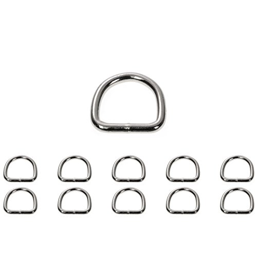 D - Ring aus Stahl, 10 Stück im Set, 22mm x 23mm, nichtrostend, Ideal in Verbindung mit Paracord 550 zu verarbeiten, geschweißter Stahl, Farbe silber glanz Marke Ganzoo