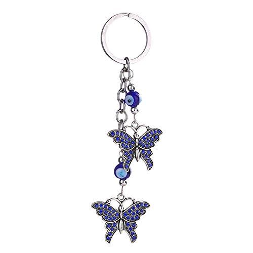 Qinlee Schlüsselanhänger Blau Auge Ornament Daypack Handtasche Anhänger Geburtstagsgeschenk für Mode Damen Mädchen (Schmetterling)