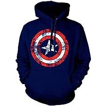 Oficial Capitán América Distressed Shield Logo sudadera con capucha–Azul marino