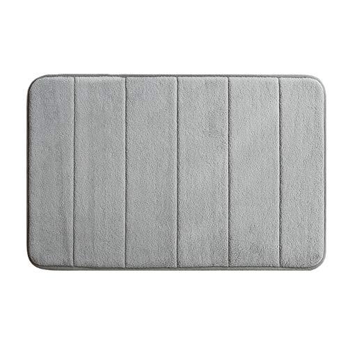 KKLTDI Absorbent Hochflor Dick Badematte, rutschfest Mikrofaser Waschbar Gemütlich Badvorleger Waschküche Weich Badteppich-grau 60x40cm(24x16inch) -