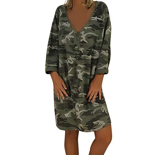 Frauen Kleid Damen V-Ausschnitt Camouflage-Kleid langärmlig lässig Knielanger Rock Damenhemd langes Sweatshirt lässiger Rock Camouflage Womens Sweatshirt