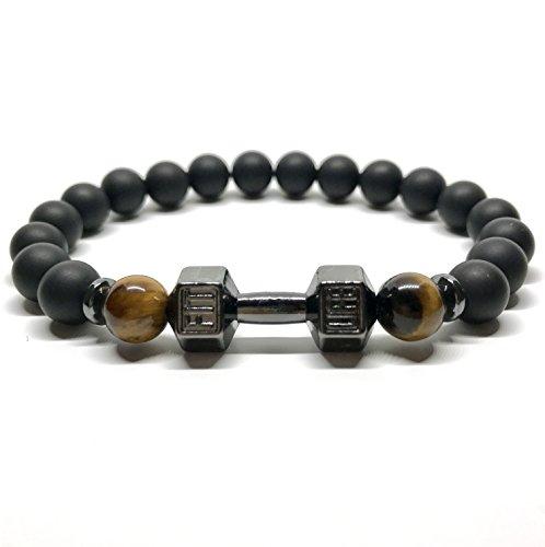 GOOD.designs Bracciale in vera nero Naturale-pietre Onice/Occhio Tigre, Manubri-ciondolo, gym- bodybuilding- fitness- motivazione- braccialetti (Oro) (Nero)