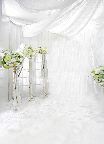 ycnet Hochzeit Hintergründe grün Blumen weiß Wand Boden Hintergrund Fotografie (Grüner Tee Ziegel)