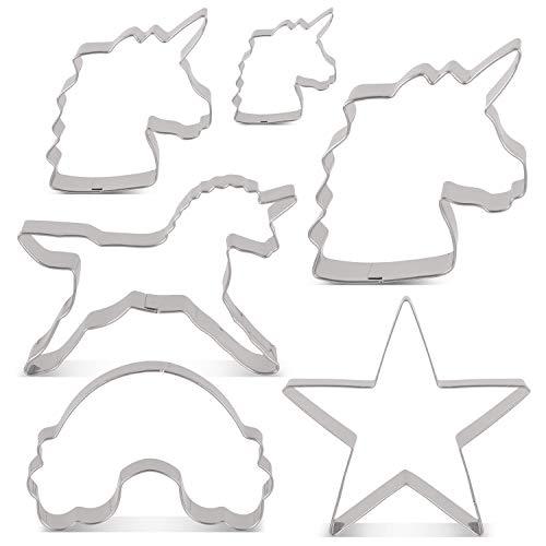 KENIAO Juego de Cortadores de Galletas Unicornio - 6 Piezas - Cabeza de Unicornio Tamaño Grande/Medio/Pequeño, Unicornio, Arcoiris - Acero Inoxidable
